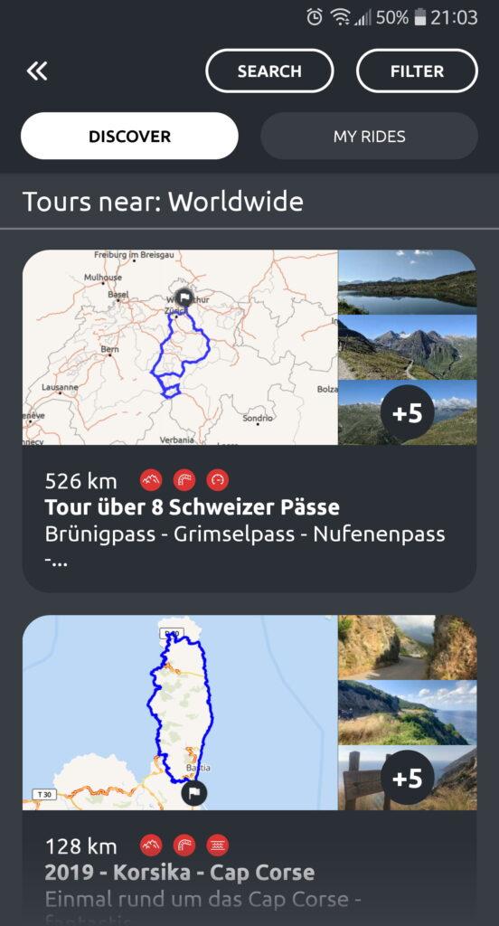 Aplikacja Calimoto RIDES- trasy motocyklowe