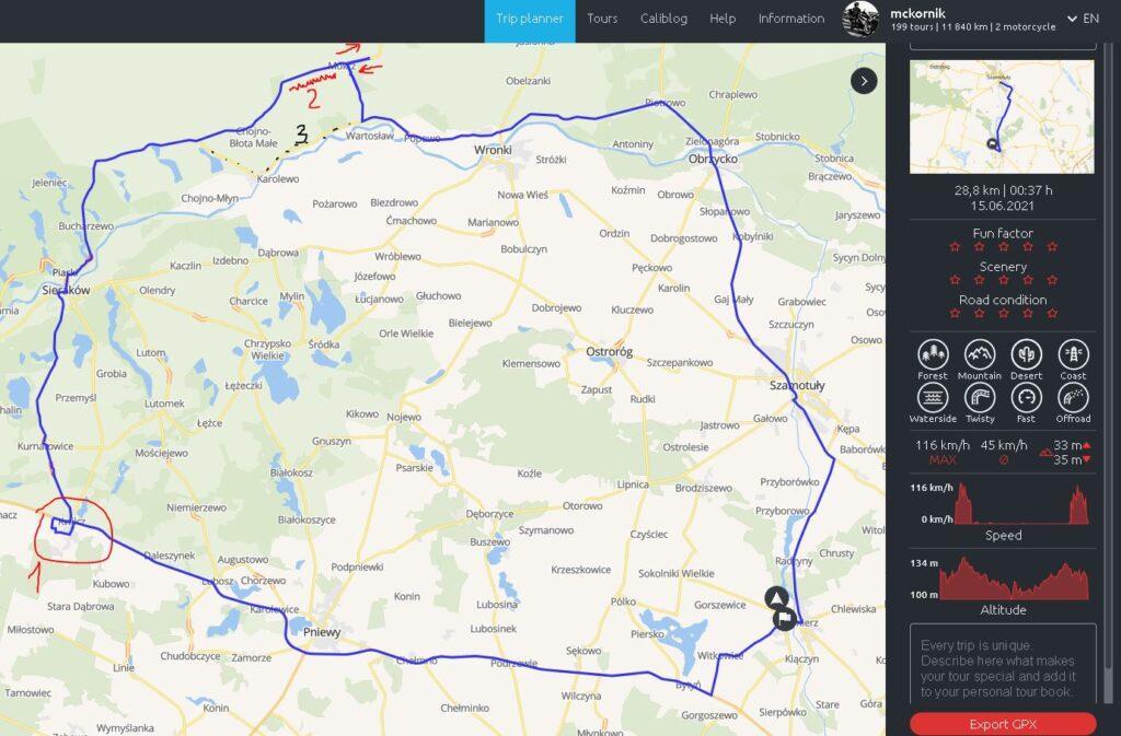 Trasa motocyklowa w kształcie Polski - #calimotour, #calimoto